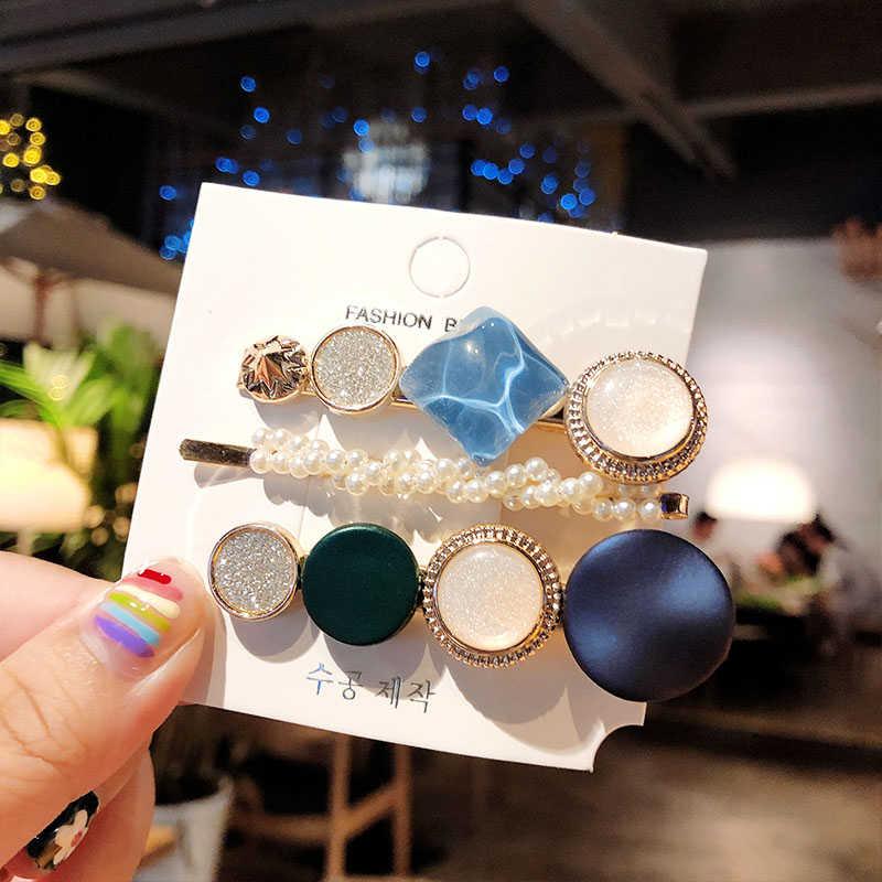 3 Cái/bộ Hàn Quốc Acrylic Kẹp Tóc Cho Nữ Phụ Kiện Tóc Thời Trang Trang Sức Mô Phỏng Ngọc Trai Kẹp Tóc Hình Học Vàng Barrettes