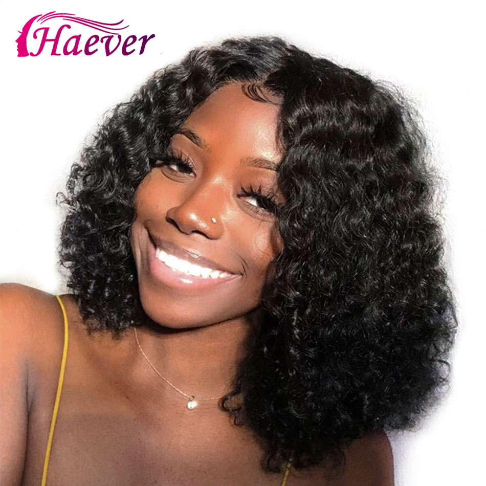Haever Curly Bob Wig Human-Hair-Wigs Lace Closure Pre-Plucked Kinky Baby Non-Remy Malaysian title=