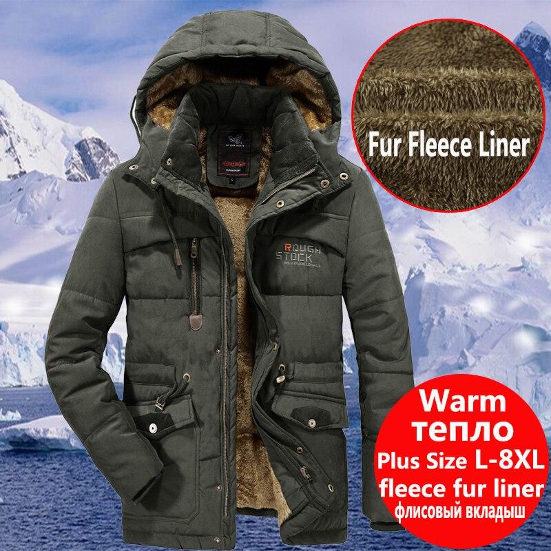 Mens Winter Warm Fur Fleece Jacket Plus Size 5XL 6XL 7XL 8XL Thicken Cotton-Padded Parka Male Hooded Windbreaker Army Coat