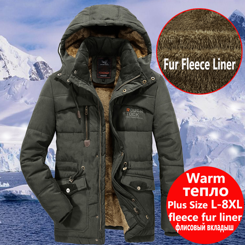 Mens Winter Warm Fur Fleece Jacket <font><b>Plus</b></font> <font><b>Size</b></font> <font><b>5XL</b></font> <font><b>6XL</b></font> <font><b>7XL</b></font> <font><b>8XL</b></font> Thicken Cotton-Padded Parka Male Hooded Windbreaker Army Coat image