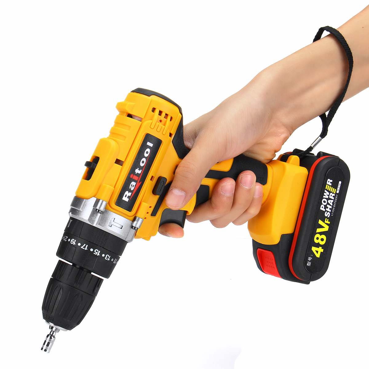 Tools : 3 in 1 48VF 2 Speed Cordless Drill Electric Screwdriver Wireless Power Driver DC Lithium-Ion Battery with LED Light Raitool
