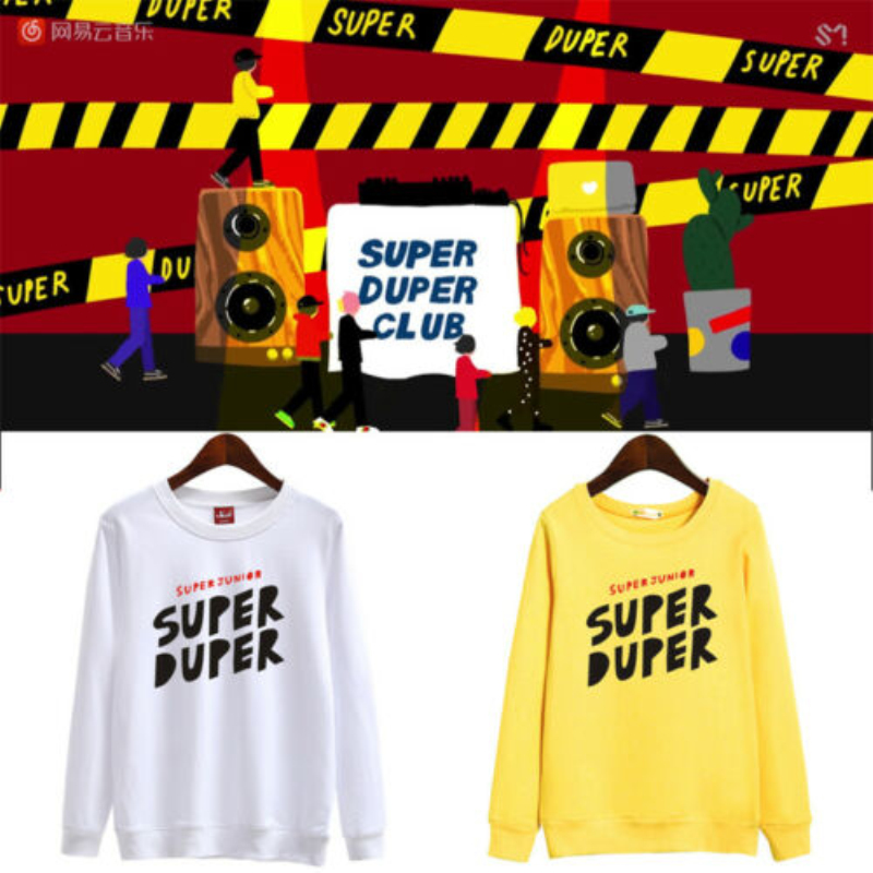 Mainlead Kpop SUPER JUNIOR REPLAY Unisex Sweatshirt Super Duper Men Women SJ Cotton Pullover