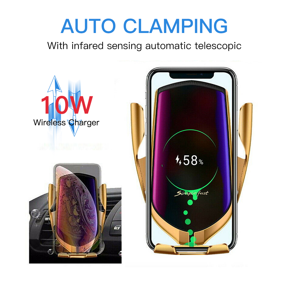 Smart Sensor Wireless Car Charger Mount New Model R2 Silver New Car Mount R2 Wireless Charger Car Bracket Infrared Smart Sensor Charger for iPhone Xs Max//XR//X//8//8Plus Samsung S10//S9//S8//Note 8