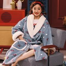 Warm Flannel Robe 2019 Winter Cherry Thicken Nightgowns Bathrobe Women Pajamas Bath Sleepwear Womens