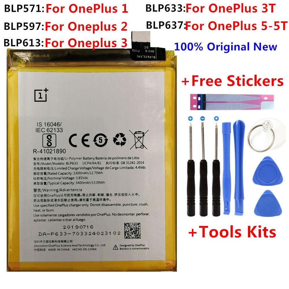 100% Original Replacement Battery For Oneplus One 1+ One Plus For OnePlus 2 3 1+3 One Plus 3 3T  5 5T Quality Li-ion Batteries