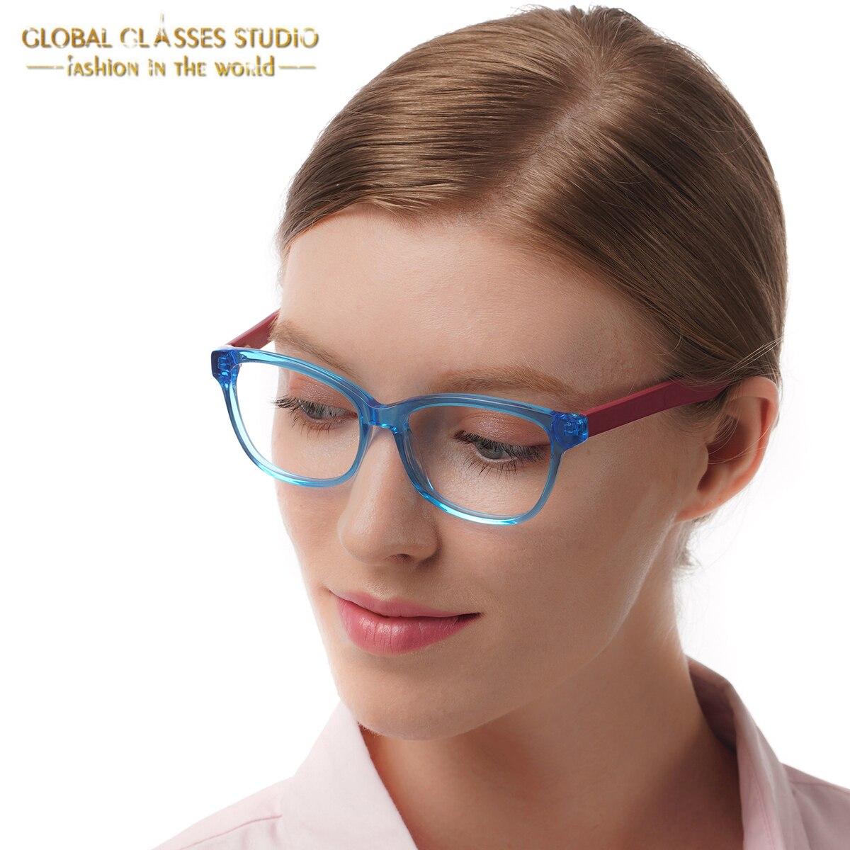Nové křišťálově modré tmavě červené roztomilé muže / ženy módní design brýlí rám čistý objektiv acetát brýle optické brýle 51BG24010