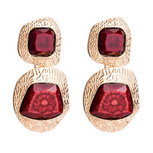YuYiJia Famous Exaggerated Artificial Gemstone Gold Earrings Women's Vintage Autumn Ear Stud Bohemian Style