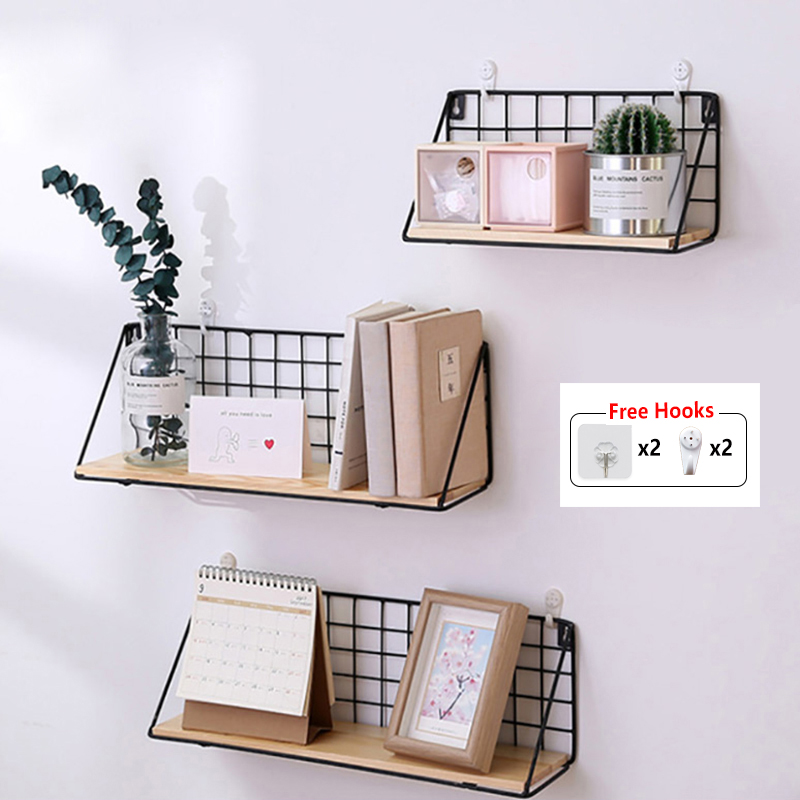 US $10.18 53% OFF|Baffect Wall Shelf Rack Iron Wooden Shelf For Kitchen  Bedroom Kid Room Home Decorative Wall Shelves Wire DIY Wall Storage Rack-in  ...