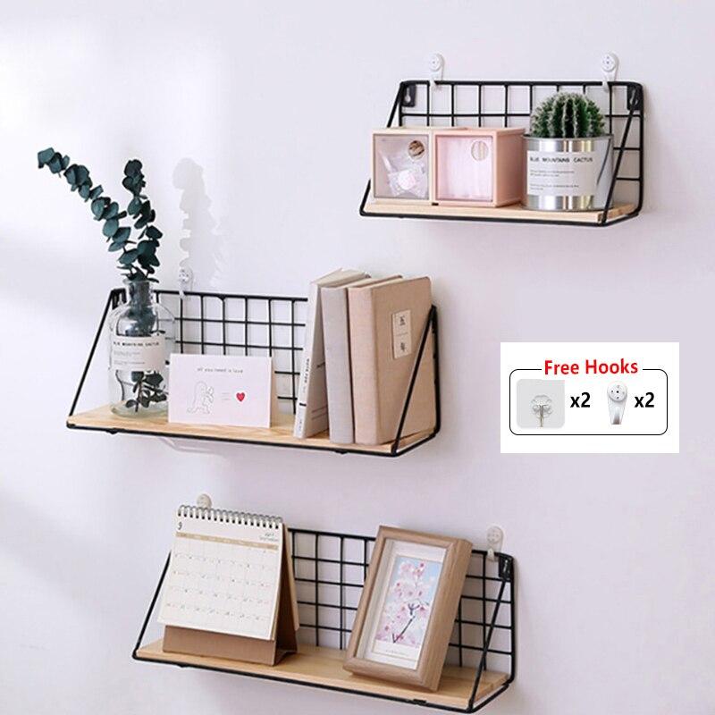US $10.18 53% OFF|Baffect Wand Regal Rack Eisen Holz Regal Für Küche  Schlafzimmer Kinderzimmer Hause Dekorative Wand Regale Draht DIY Wand  Lagerung ...
