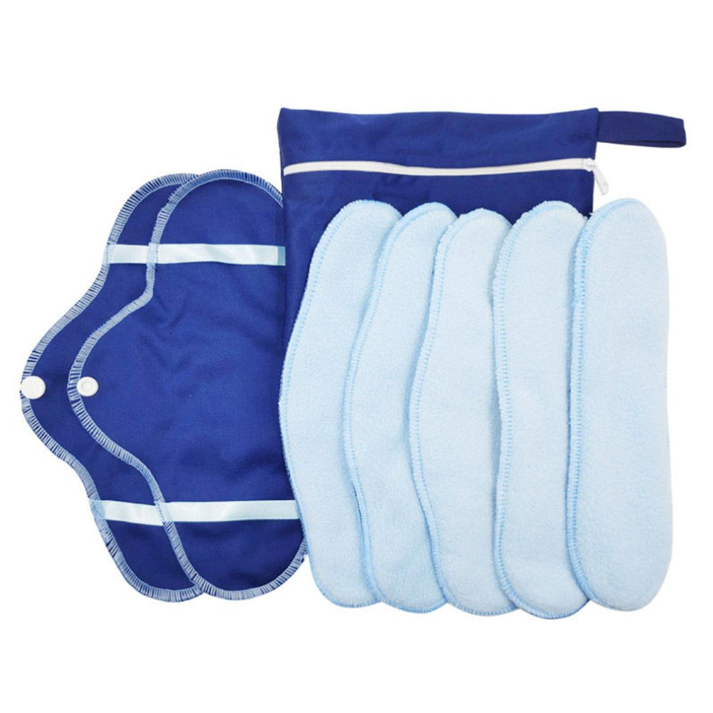 Washable Sanitary Pads Fleece Sanitary Napkins Sanitary Pads Breathable Aunt Towels Reusable Washable Recyclable 1 Set