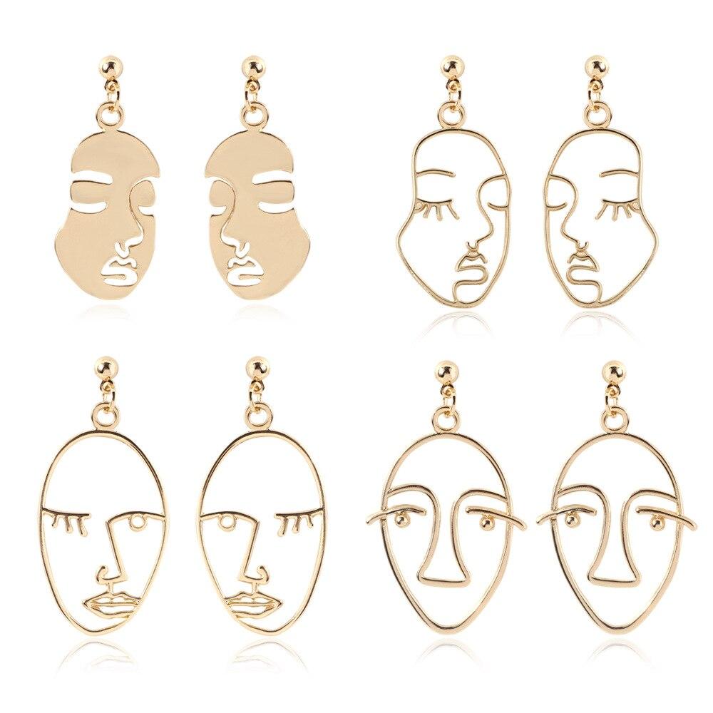Brincos de gota de rosto humano do punk para as mulheres retro abstrato oco para fora declaração de ouro face balançar brinco moda jóias femininas