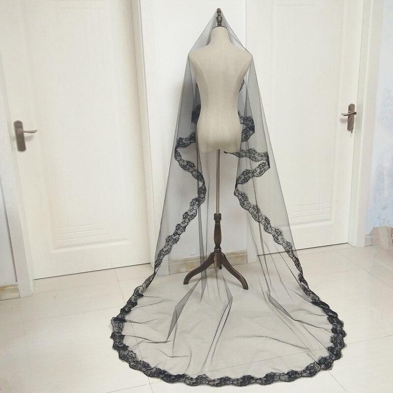 One-Layer Wedding Veils Black Short Veil For The Bride Velo De Novia Corto Appliqued Voile Mariage 3m Wedding Veil Cathedral