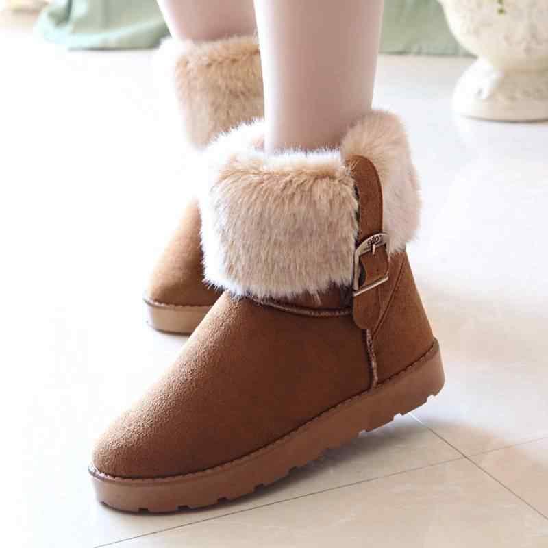 REAVE KEDI Kadın Kar kış Çizmeler Yuvarlak Ayak Düz Toka Kürk Peluş yarım çizmeler Çekin Anti Kayma Tutmak sıcak boyutu 36-40