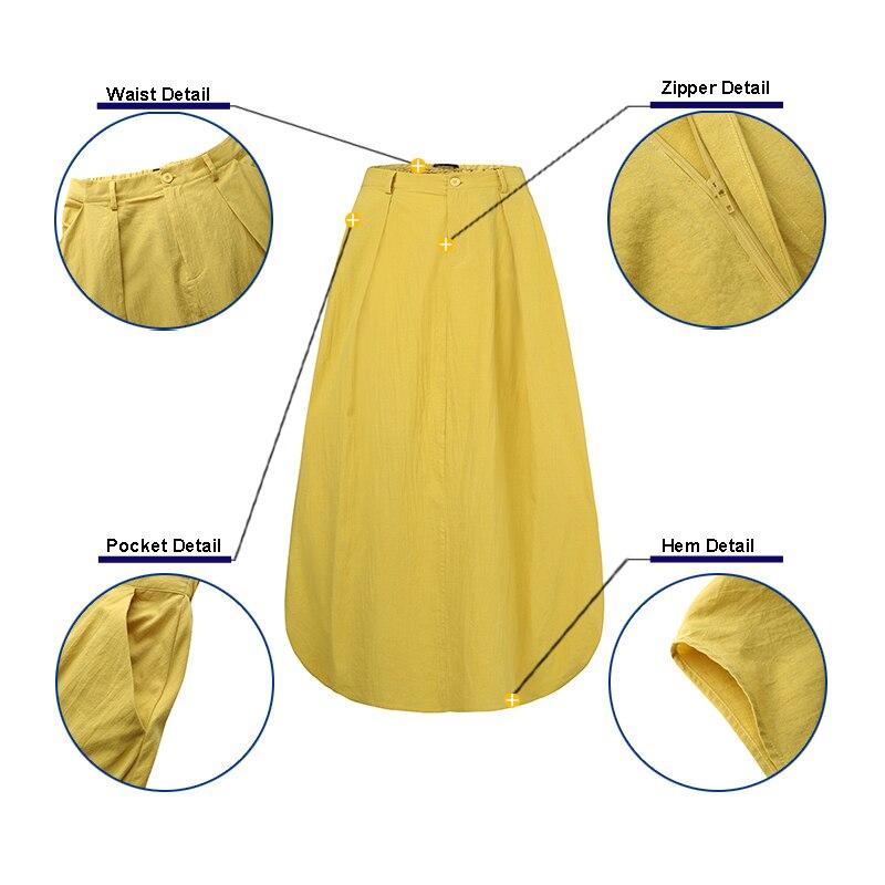 Clearance SaleZANZEA Maxi Skirts Button-Robe Sundress Elastic-Waist Elegant Long Cotton Plus-Size Women's