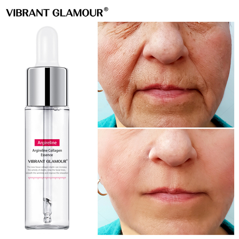 VIBRANT GLAMOUR Argireline Collagen Face Serum Anti-Aging Anti-Wrinkle Moisturizing Essence Whitening Firming Blemish Skin Care