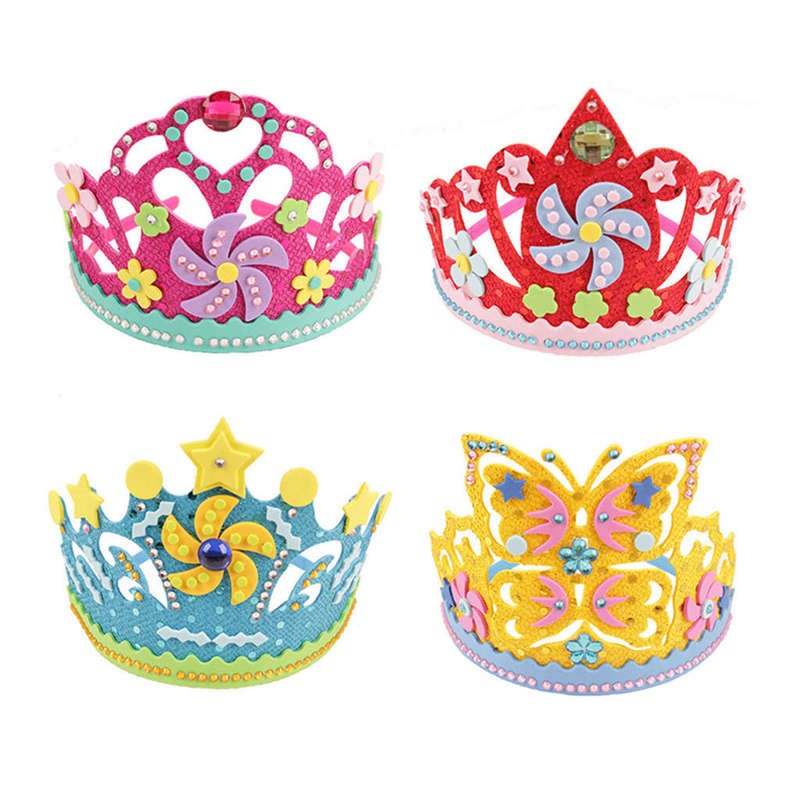 Eva Sequins Crown Creative Flowers Stars Patterns Kindergarten Art Children Diy Craft Toys Party Diy Decorations Gift 4Pcs