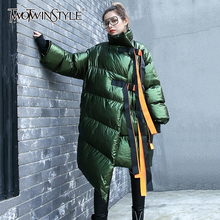 Parkas Coats TWOTWINSTYLE Irregular Women's Cotton Long Bandage Female-Stand-Collar Asymmetrical