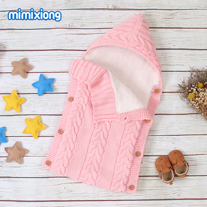Image 3 - Baby Sleeping Bags Stroller Autumn Envelope for Newborn Winter Warm Infant Sleep Sack Cable Knitted Toddler Outdoor Swaddle Wrap