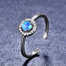 boho female blue opal stone ring dainty round crystal silver wedding rings for women cute bridal love heart engagement ring Cute Female Blue Opal Stone Ring Elegant Round Crystal Adjustable Wedding Rings For Women Trendy Bridal Silver Engagement Ring