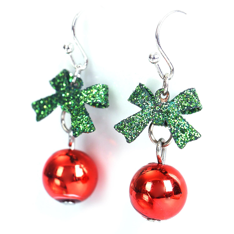 1 Pair Glitter Bow Xmas Balls Earings Women Girls Christmas Xmas New Years Decoration Earrings Jewelry Fashion Christmas Earings