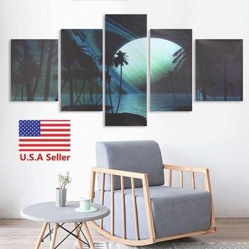 New 5pcs Modern Art Unframed Oil Painting Frameless Landscape Canvas Print Wall Art Beautiful Abstract Landscape Wall Decoration