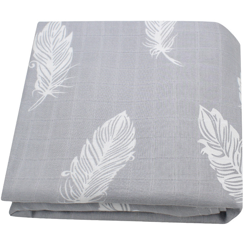 Muslin Swaddle Blankets Cotton Baby Swaddle Wrap for Burping Cloths Stroller Cover 1pcs Feather