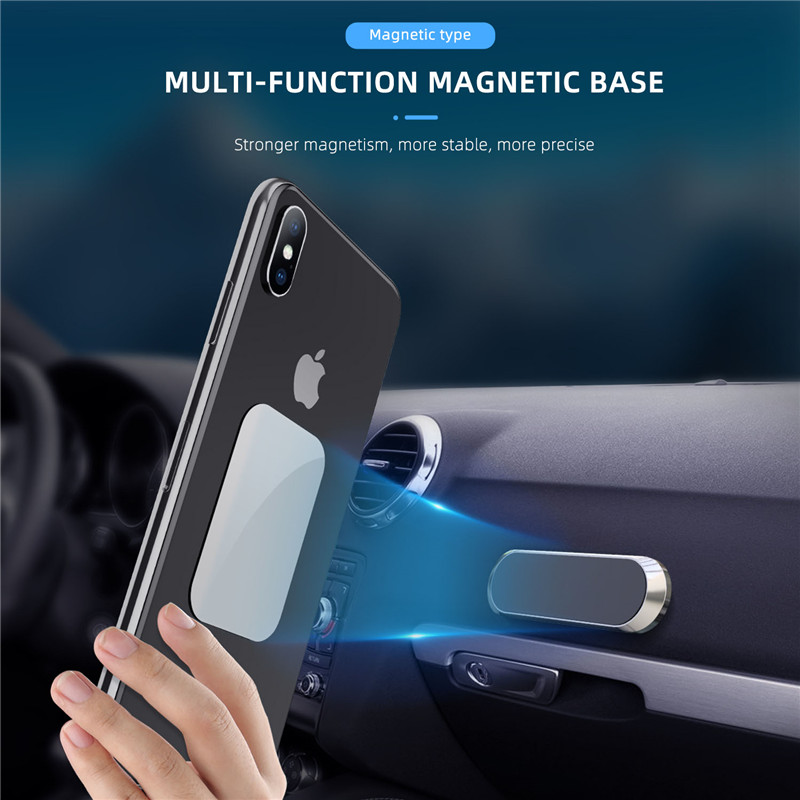 Mini Magnetic Car Phone Holder Strip Shape Stand Universal For Iphone Samsung Xiaomi Metal Magnet GPS Car Mount For Wall
