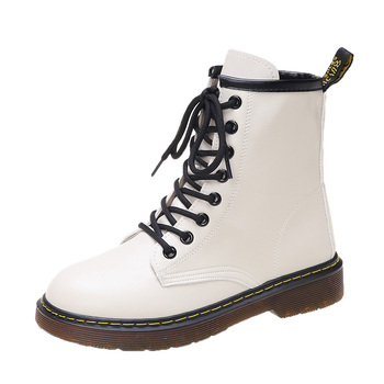 Female Boots Shoes PU Leather Ankle Marten Boots 2020 Autumn Women Motorcycle Martin Boots Round Head Platform Heel Botas Mujer women martin boots ankle boots winter warm shoes female motorcycle ankle fashion boots botas feminina women botas mujer