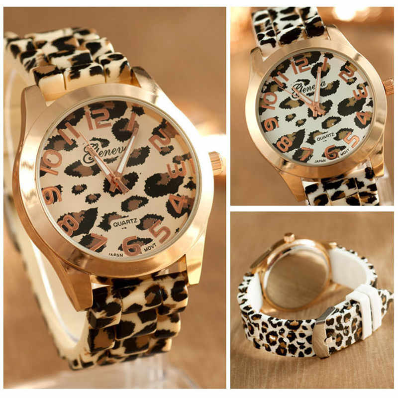 reloj mujer Silicone Womon Watches Round Fashion Silicone Watches Woman Quartz Watch New Casual Leopard bayan kol saati