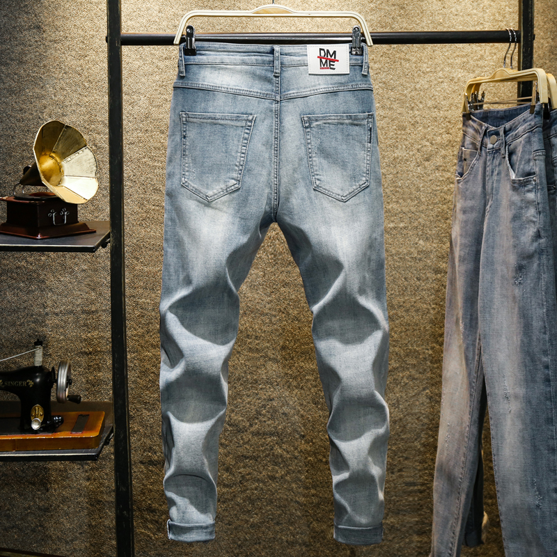 KSTUN Men's Jeans Light Blue 2020 Spring Stretch Relaxed Tapered Jeans Men Good Quality Skinny Casual Pants Long Trousers Homme 12