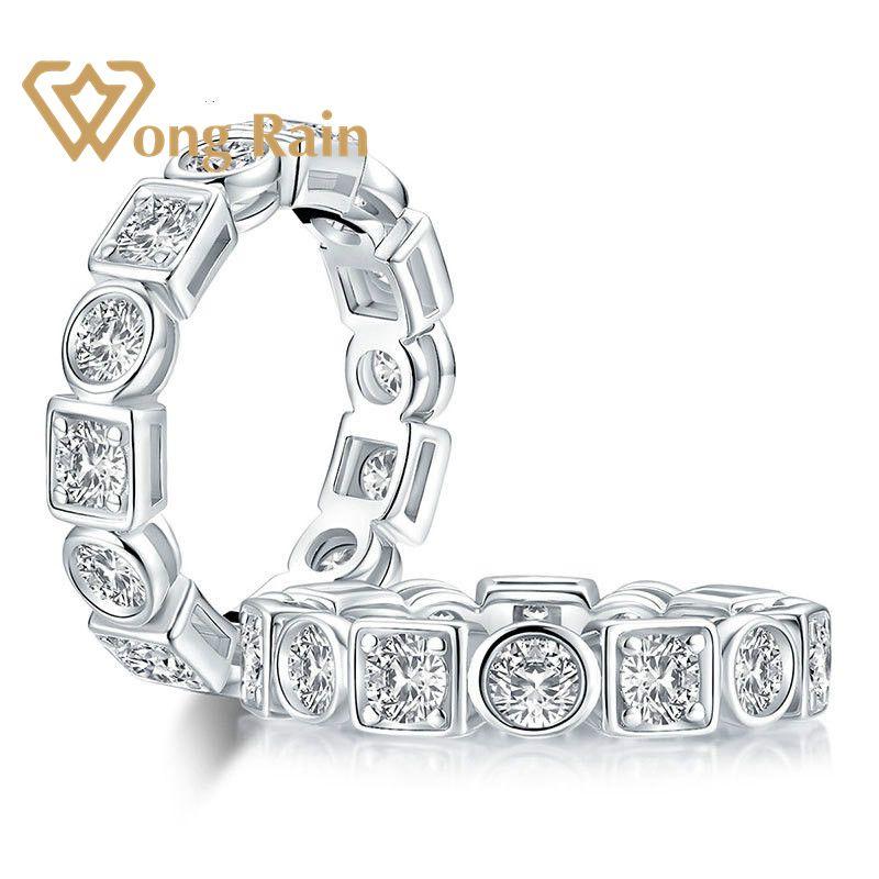 Wong Rain 925 Sterling Silver Created Moissanite Gemstone Diamonds Wedding Engagement Ring Wedding Band Fine Jewelry Wholesale