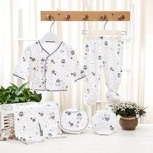 5Pcs Soft Infant Suit Comfortable Newborn Clothing Cartoon Print Pure Cotton Underwear Baby Boys Girls Suit 3 Months Baby Set