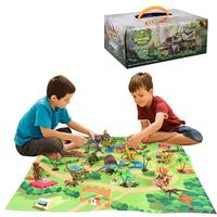 Dinosaur Game Set Plastic Dinosaur Figure Play Mat Simulation Tree Kit Kids Puzzle Toy Dinosaur Traffic Game Mat Educational Toy