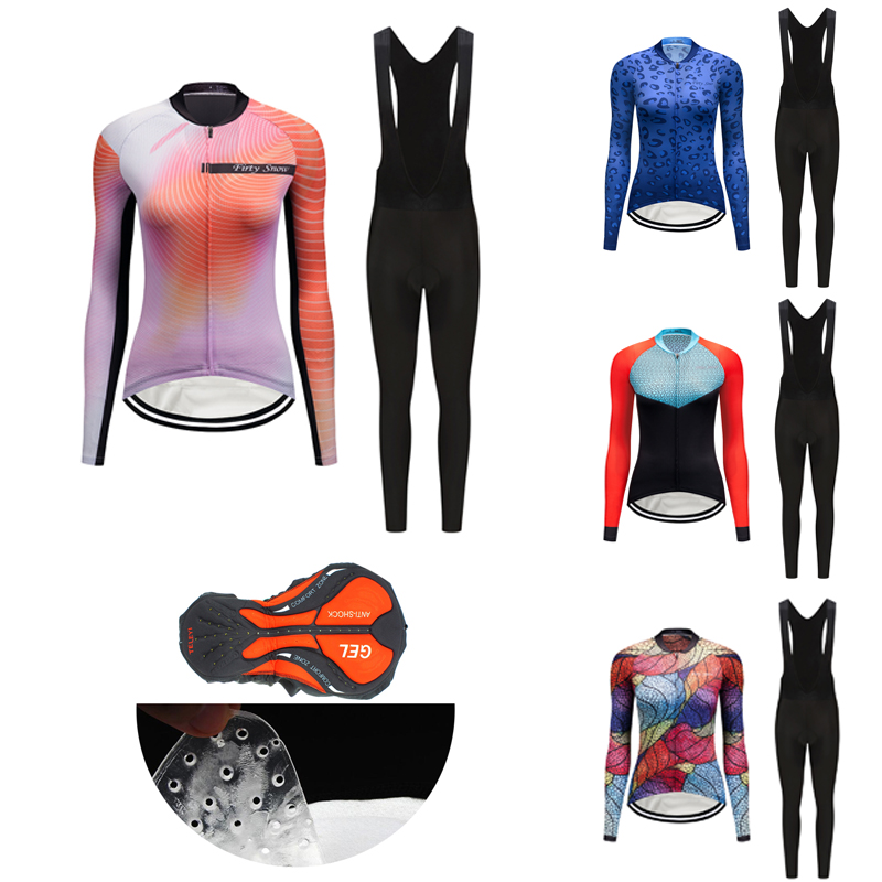2021 Autumn Long Sleeve Bicycle Clothing Women Fashion Cycling Jersey Set BIB Kit Female Road Bike Clothes MTB Dress Suit Outfit