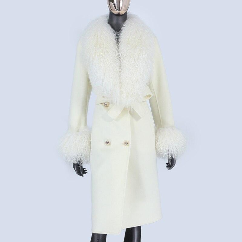 2021X Long Natural Mongolia Sheep Real Fur Coat Autumn Winter Jacket Women Double Breasted Belt Wool 2021X-Long Natural Mongolia Sheep Real Fur Coat Autumn Winter Jacket Women Double Breasted Belt Wool Blends Overcoat Streetwea