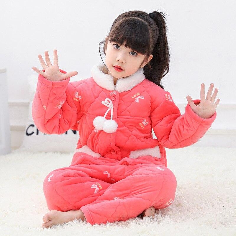 Blue Soft Coral Fleece Nightwear Homewear Pyjamas Suit Boys Girls Clothing Long Sleeve Pajamas Set Winter Sleepwear Bathrobe