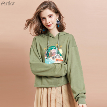 ARTKA 2019 Autumn New Women Hoodies Fashion Cartoon Print Hoodie Sweatshirts O-Neck Pullover Casual Hoodies Women VA15097Q artka 2019 autumn new women sweatshirt 100% cotton fashion print hoodie sweatshirt o neck pullover casual hoodies women va10399q