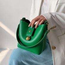 Zielony Mini PU skórzane wiadro Crossbody torby dla kobiet 2021 modne markowe modne luksusowe torebki na ramię Solid Color Totes tanie tanio LEFTSIDE Torby na ramię Na ramię i torby crossbody CN (pochodzenie) COVER SOFT NONE Na co dzień POLIESTER Versatile WOMEN