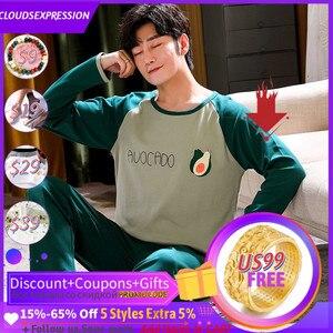 Пижама мужская хлопковая в полоску, одежда для сна с надписью, мультяшный рисунок, Повседневная Пижама для отдыха, размеры до 4XL, на осень-зим...