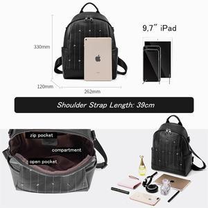 Image 5 - BISONJS Multifunction Backpack Female Genuine Leather Ladies Shoulder Bags Brand Small Women Backpack mochila feminina B1853