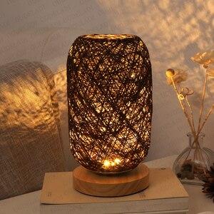 Image 4 - الخشب الروطان خيوط كرات إضاءة الجدول مصباح غرفة ديكور فني المنزل مكتب الخفيفة