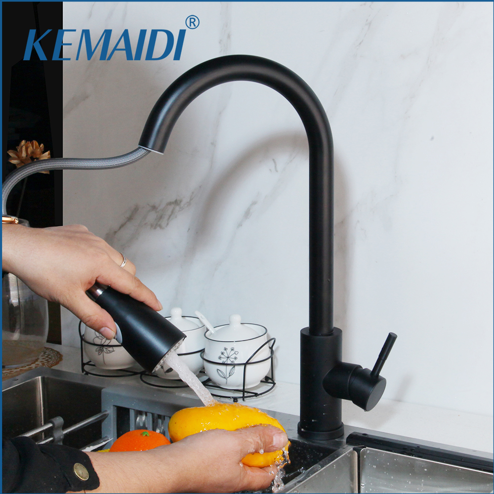 KEMAIDI Kitchen Faucets Brass Black Pull Out Kitchen Mixer Tap 2 Way Function Water Mixer Deck Mounted Single Handle Sink Crane