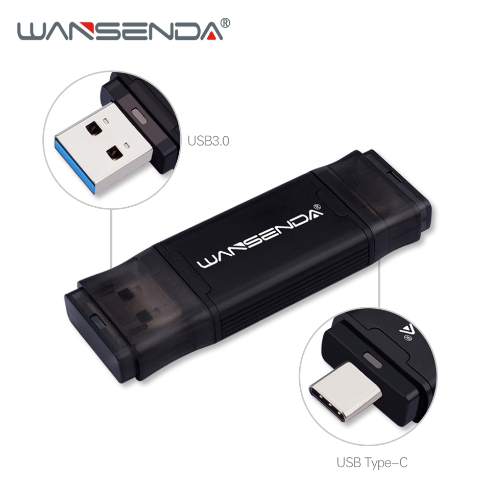 WANSENDA TYPE-C USB 3.0 Flash Drive 512GB 256GB 128GB 64GB 32GB 16GB Pen Drive For Type-c/PC External Storage Pendrive USB Stick