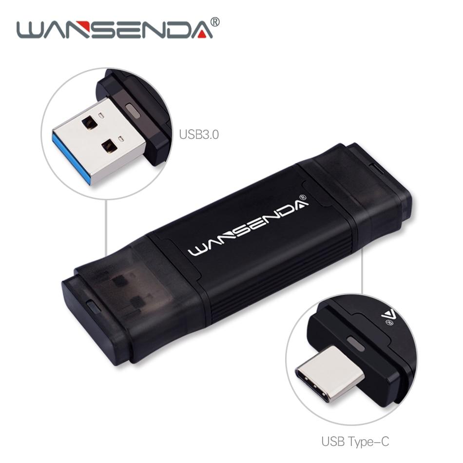 WANSENDA TYPE-C USB 3.0 Flash Drive 512GB 256GB 128GB 64GB 32GB 16GB Pen Drive For Type-c/PC External Storage Pendrive USB Stick