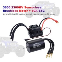 Waterproof 3650 2300KV/3100KV/3900KV Brushless Senseless Motor and 60A Brushless ESC Combo Set for 1/10 RC Car Boat Model Parts high quality 2860 four pole brushless motor for 1 10 rc car and 400mm rc boat 3000kv