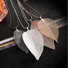 Free Shipping Black Silver Color Hollow Leaf Pendant Necklace Women Leaf Specimen Sweater Chain Necklace