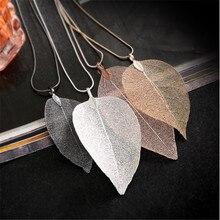 Free Shipping Black Silver Color Hollow Leaf Pendant Necklace Women Leaf Specimen Sweater Chain Necklace black leaf pendant cord choker necklace