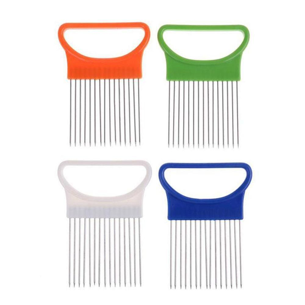 Stainless Steel Onion Needle Onion Fork Vegetables Fruit Slicer Tomato Cutter Cutting Safe Aid Holder Kitchen Accessories Tools