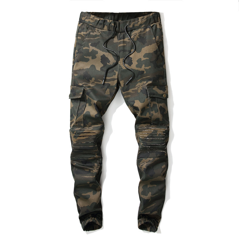 Camouflage Pants Men Cut Rotten Bib Overall Ozhouzhan With Holes Beam Leg Jeans Men's With Drawstring Boxers Casual