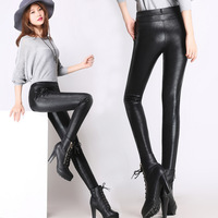 Autumn & Winter Brushed And Thick Leggings Women's Elasticity Slimming Pencil Pants Windproof Warm PU Leather Pants Outer Wear L